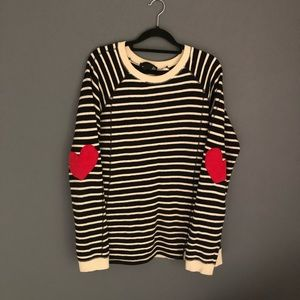 JOH Sz M Striped Sweater Elbow Heart Patches